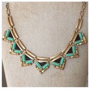 Turquoise black stone triangle statement necklace